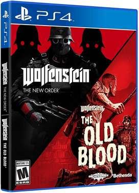 Doble Pack de Wolfenstein Nuevo y Sellado de PS4 Incluye dos juegos