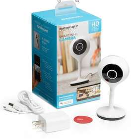 Cámara Merkury15 Smart WiFi 720P con control por voz, requiere WiFi de 2,4 GHz, color blanco