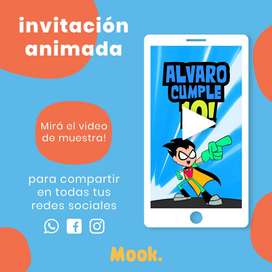 Teen Titans Go Invitación Animada en Video