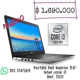 Portátil Dell Inspiron 3501 - Core I3 10th generación 15.6 1 Tera, 4 gigas ram