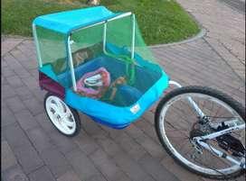 Trailer enganche Bicicleta Para Perro O Niños! carrito, remolque, como nuevo
