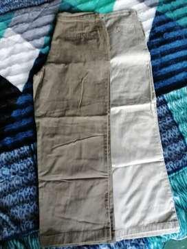 2 pantalónes en dril como nuevos talla32