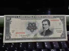 Billete de 10 colones de 1988