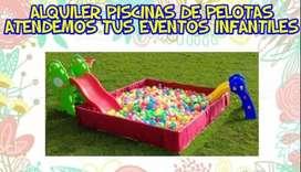 Alquiler piscinas de pelotas y trampolines para fiestas infantiles