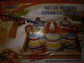 Set de mesa en ceramica 5 Piezas NUEVO