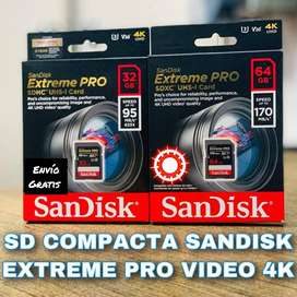 SD y MCROD SD SANDISK EXTREME PRO SDHC U3 CLASE 10 UHS. VELOCIDAD 170 MB VIDEO 4K. 64 GB