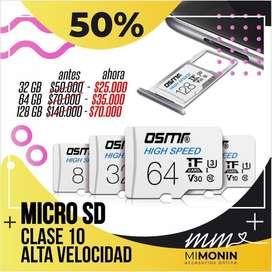 Memorias sd para el celular 16gb, 32 gb, 64gb y 128gb disponibles.