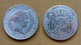 Moneda de 50 céntimos de plata, Filipinas bajo dominio español 1868