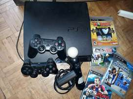 Vendo play station 3 kinetic + 2 controles