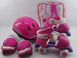 Patines 4 Ruedas Niños Ajustables Casco Kit Protección