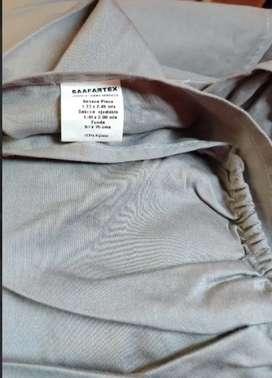 Juego de cama 100%ALGODON, sábana ajustable y sobresabana Medida funda: 50 cm x 75 cm. Sobresábana plana:1.70mx2.45
