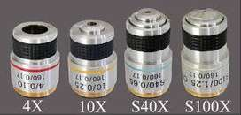 Objetivos de microscopios 4x - 10x - 40x - 100x