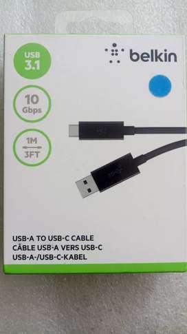 Belkin Datacables USB A USB-C Originales. Color: Negro.