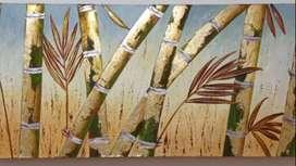 Cuadro Triptico de Bambú con Efectos de Brillo de Oro y Plata