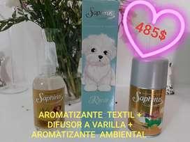AROMATIZANTE TEXTIL + difusor a varilla + AROMATIZANTE ambiental