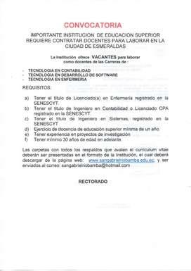 DOCENTES  PARA LA CIUDAD DE ESMERALDAS