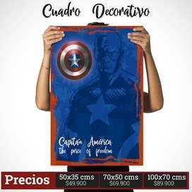 Cuadro Decorativo de Capitán América Comic Style