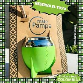 """NOVEDAD! MATE"""" PAMPA"""" ARGENTINO con BOMBILLA ACERO BASE RESORTE.!"""