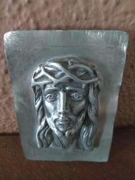 Cristo Rostro en Plomo Antiguo Hermoso