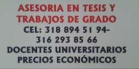 ASESORAMOS TESIS,TRABAJOS DE GRADO Y NORMAS.