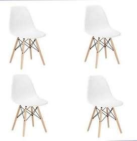 4 sillas charles eames madera-blanco