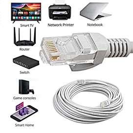 Cable de Red internet Router x 15metros Categoría6 Ponchado. Blanco