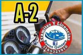 A2 Licencia para moto en cali jamundi (Bayron Quintero)