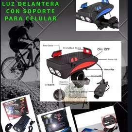 Luz Delantera Bici Con Soporte Para Celular