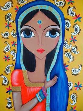 Pintura Moderna Indian Yellow Girl