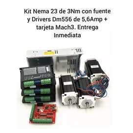 Kit Nema 23 de 3 Motores 3.0Nm de 112 mm + 3 drivers Dm556 + fuente + Mach3 con CD de instalacion