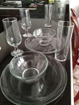 Set cristar vasos, platos, copas y bowls
