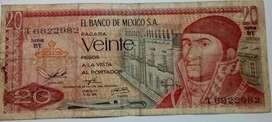 BILLETE DE 20 PESOS MÉXICO