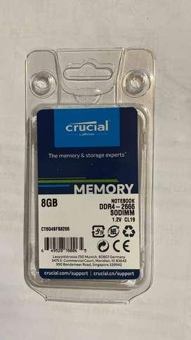 MEMORIAS DDR4 8GB CRUCIAL PORTATIL NUEVAS