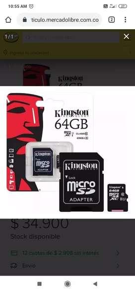Memoria SD Kingston 64 clase 10