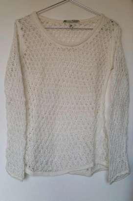 Sweater pullover mohair calado natural