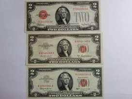 Colección De Billetes 2 Dolares Sello Rojo