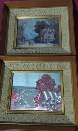 Par de cuadros antiguos con marco, pintura Oleo, paisajes