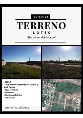 Se vende terreno en loteo ''Horizontes del Paracao''