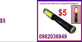 Linterna Foco  Led A Pilas Con Luz Roja De Emergencia a $5