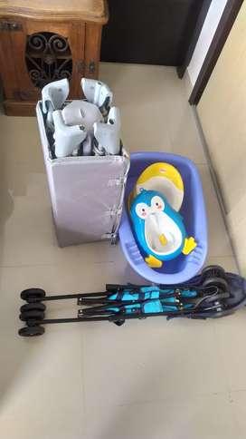 Kit para bebé (cuna+coche+tina+mica+urinal)