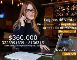 Página Web 360.000 Profesional Todo Incluido, Posicionamiento, Marketing, Diseño Cel3223991639 chat videos redes