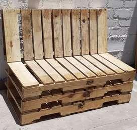 Sillon de palets de madera pino. Largo 1.21