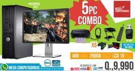 COMBO 5 COMPUTADORAS GAMING 1GB VIDEO + WIFI USB DELL  PAGAS HASTA RECIBIR  MEGACOMPUTADORAS.