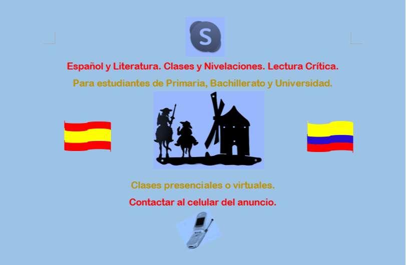 Español y literatura Clases y Nivelaciones. Lectura Crítica.