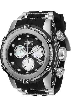 Reloj Hombre Invicta Bolt Zeus Plateado Silicona Negra 28160