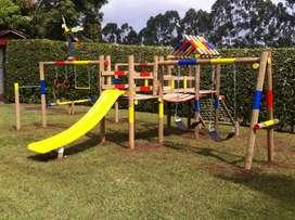 Juegos infantiles en madera inmunizada