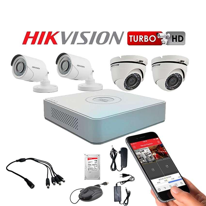 COMBO DE VIDEO VIGILANCIA DE SEGUIDAD HIKVISION DE CAMARAS DE 2 MPX CON DD SALIDA INTERNET HDMI VIDEO Y SONIDO 0