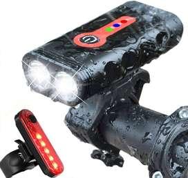 Luz Para Bicicleta Potente 1000 Lumenes Recargables Delantera Y Trasera IP65