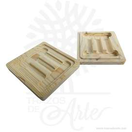 Caja estuche tapa ajustable en madera de pino de 11.5 x 13.5 x 3 cm – Precio COP