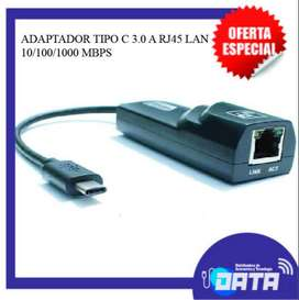Adaptador Tipo C 3.0 A Rj45 Lan 10/100/1000 Mbps